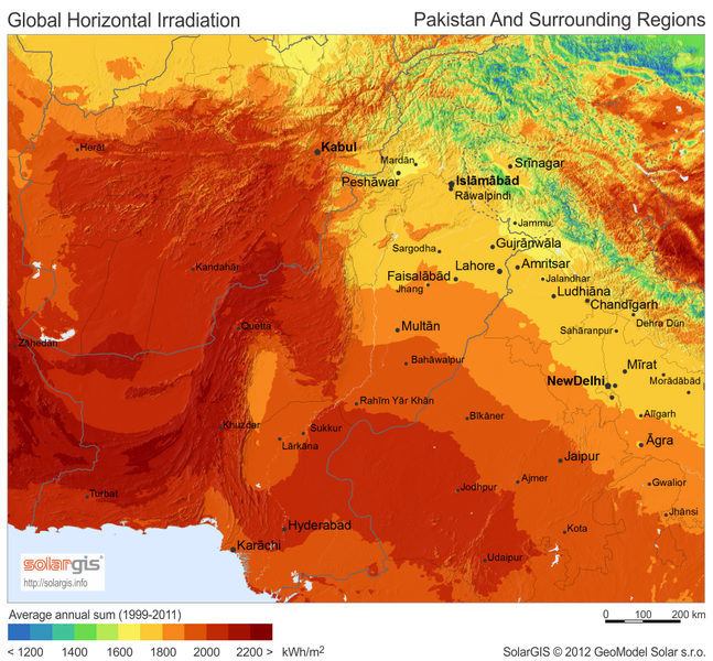 Solar Resource Map of Pakistan