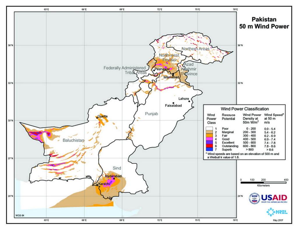 Wind Map of Pakistan